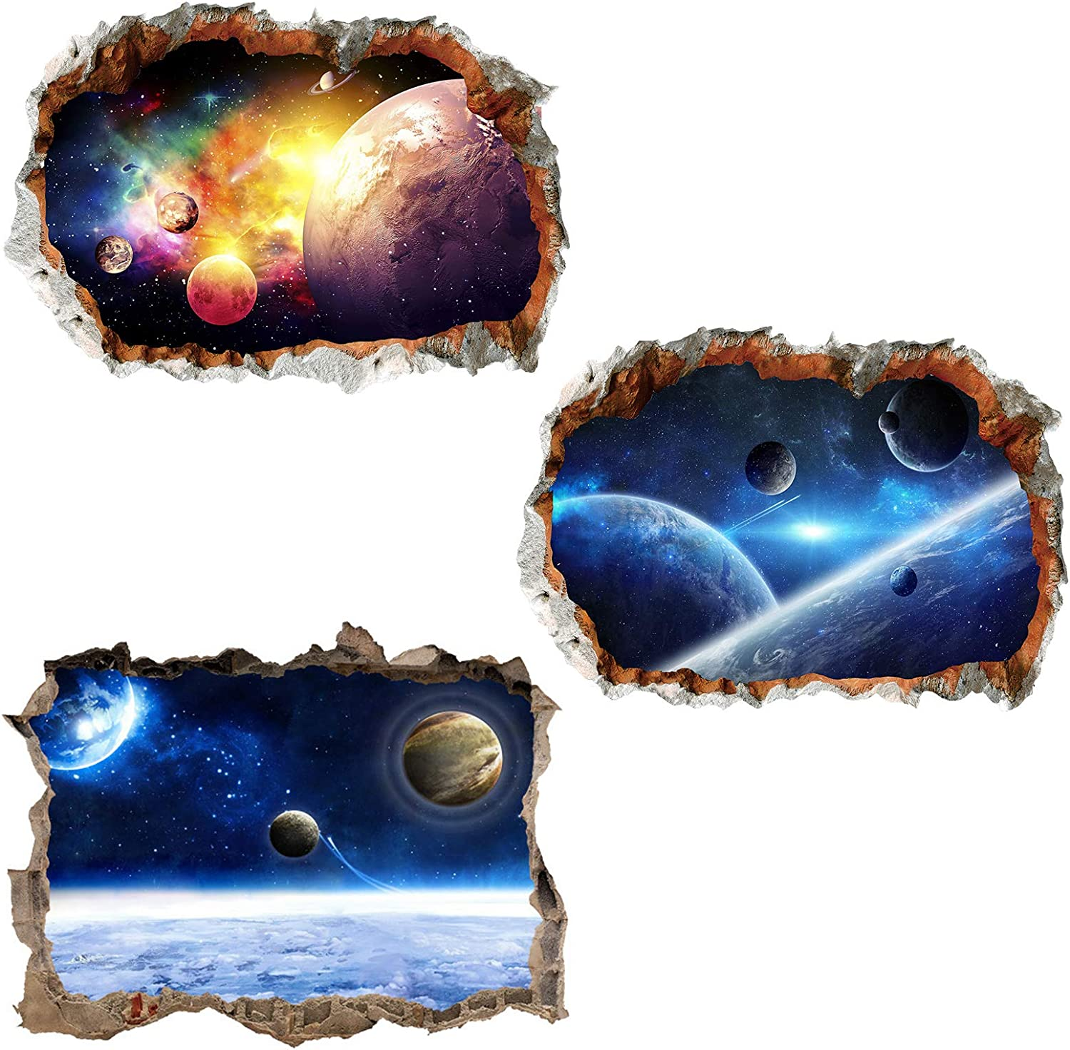 3 Pcs Universe Window Wall Stickers Galaxy 3D Decals Planet online shop Max 51% OFF