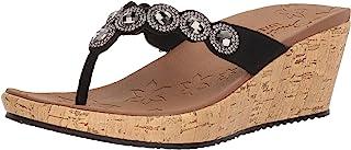Skechers Women's Beverlee-Bizzy Babe-Rhinestone Thong Wedge Sandal