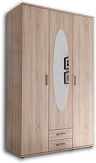 PAUL Elégante armoire 3 portes avec beaucoup d'espace de rangement - Armoire polyvalente à portes battantes en aspect chên...
