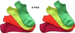 8 Pares de Calcetines de Colores neón para Mujer, Modelo Fantasmino Pariscarpa – Calcetines Summer Fluo TG. Única 35-40
