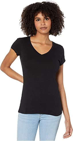 Fitted V-Neck Tee in Slubbed Jersey