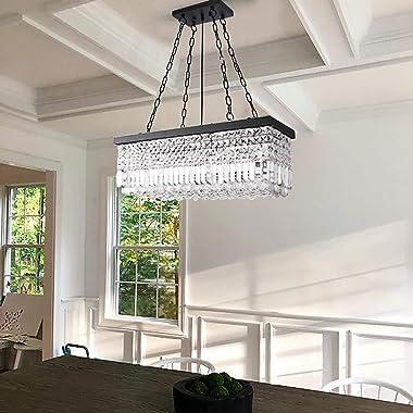 Wellmet Crystal Linear Chandelier Light Fixture, Black Rectangular 5 Lights Modern Farmhouse Chandeliers for Dining Room, Han