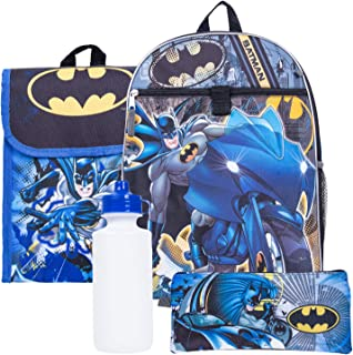 e82aec942b DC Batman Backpack Combo Set - DC Comics Batman 5 Piece Backpack School Set