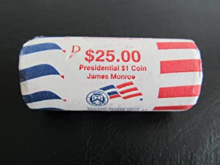 2008 D James Monroe T/T Presidential $1 Coin 25 - Dollar Coin One U.S. Mint Roll From Denver (No White Box).