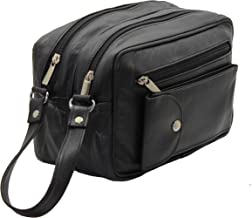 STARHIDE Mens Real Leather Multi Compartments Toiletry Overnight Wash Gym Shaving Bag with Grab Handle Strap Black 515