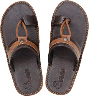 Emosis Men's Slipper Cum Sandal - Latest & Stylish Synthetic Leather - for Outdoor Formal Office Casual Ethnic Daily Use - Available in Tan Brown Black Beige White Blue Color - 0314M