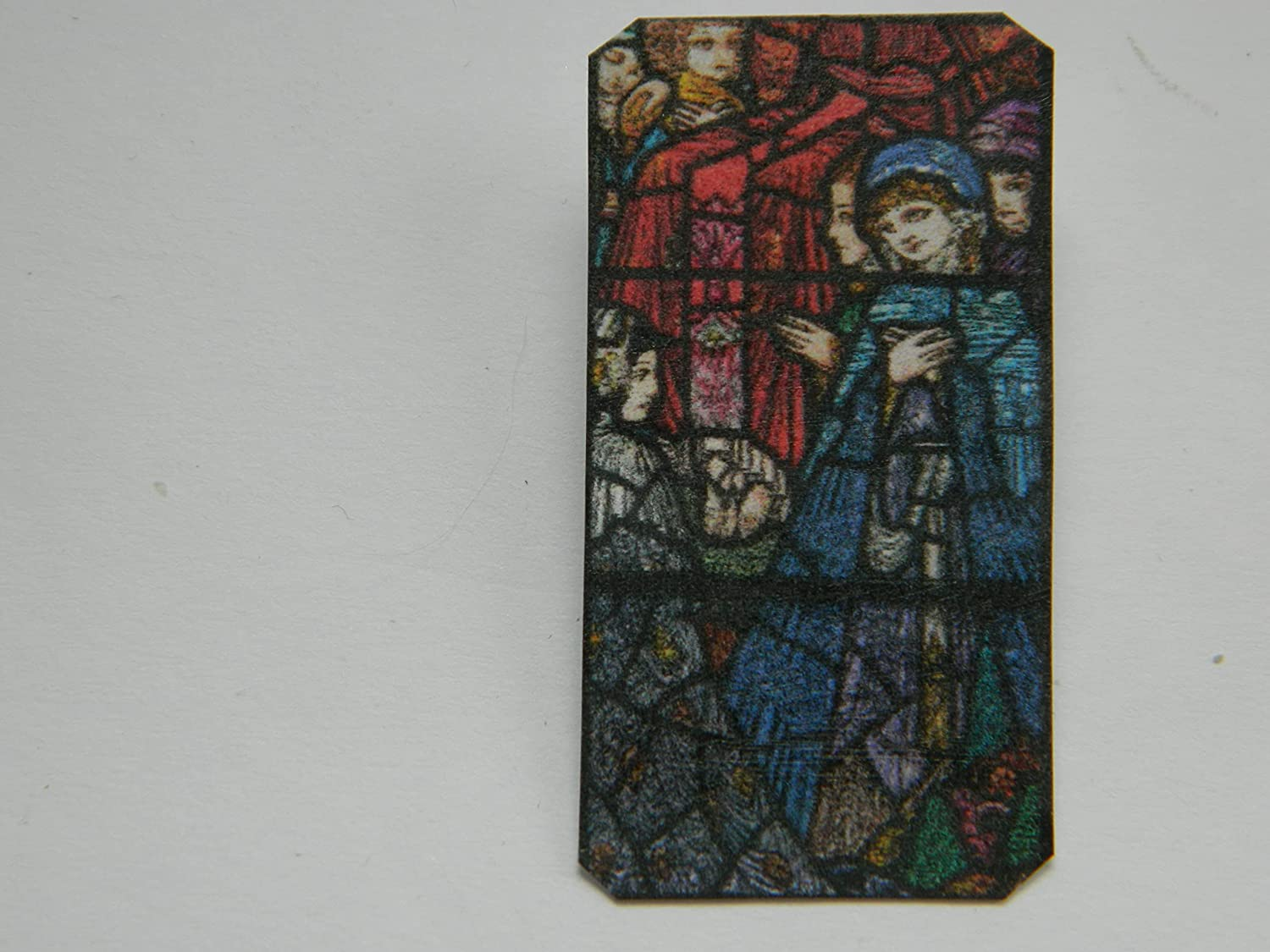 Lapel Pin Harry Clarke Stained Glass Woman Finally popular brand Detail Cloa Long Beach Mall a in Blue