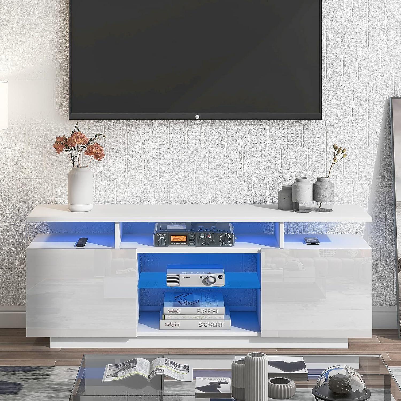 YINKUU LED TV Stand with Storage Smart Charlotte Mall - Entertainment New York Mall Ce Modern