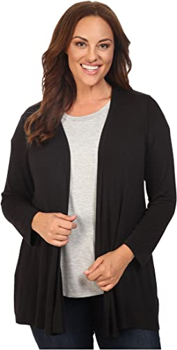 B Collection by Bobeau - Plus Size Keegan Woven Back Cardigan