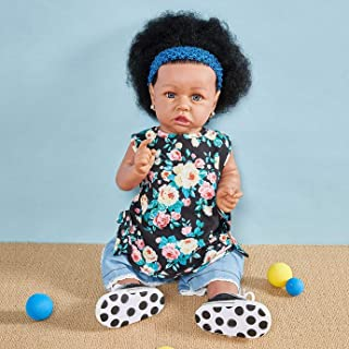 Czarna ciemna skóra afrykańska lalka niemowlę 23 cali 58 cm Reborn Baby Doll Realistyczna realistyczna noworodek niemowlęt...