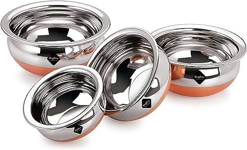 Meqstore Home Kitchen Appliances Stainless Steel Handi With Copper Bottom Handi 4 Piece Set Multi Purpose Capacity Cookware