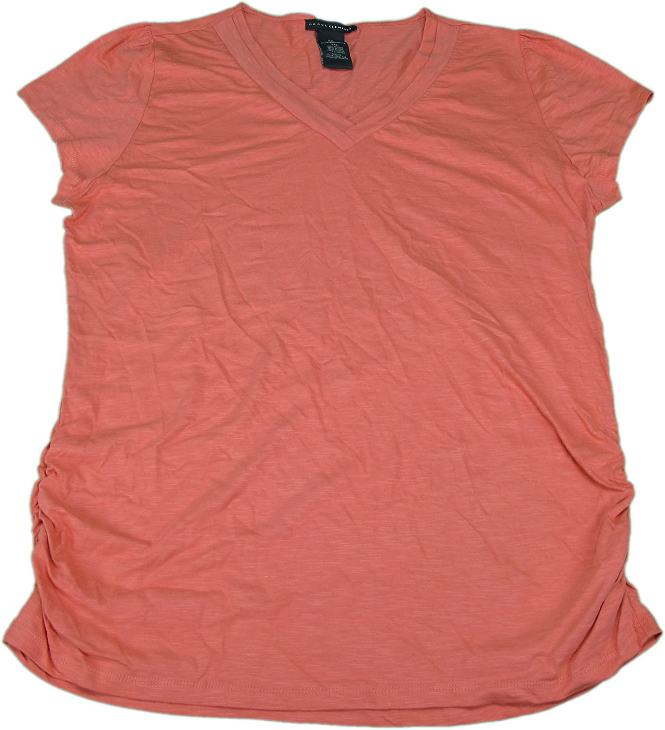 Grace Elements Womens Ruched S S V Neck Top Shirt