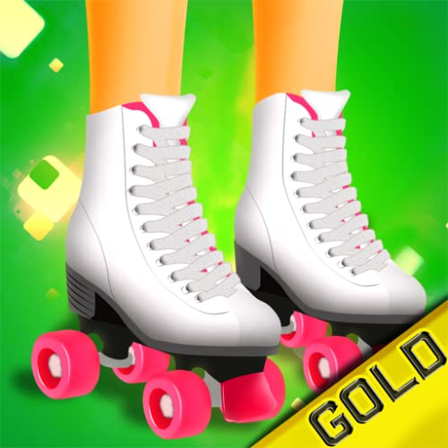 Mädchen Skater gold - das Mädchen nur Skaten Skateboard, Inline-Skates, Skate-Quads & andere Rollen spielt freies Spiel