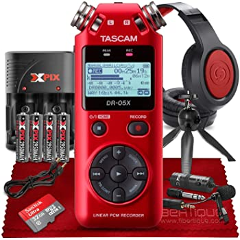 Tascam DR-05X Stereo Handheld Digital Audio Recorder with USB Audio Interface (Red) + Premium Bundle Including Headphones, Lavalier Microphone, 32GB SD Card, Tripod, Cables & Batteries With Charger