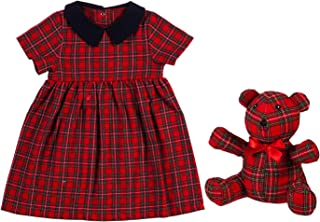 B. BOUTIQUE BY EVERGREEN Red Tartan Plaid Dress & Teddy Bear Giftset - 9 x 2 x 11 Inches