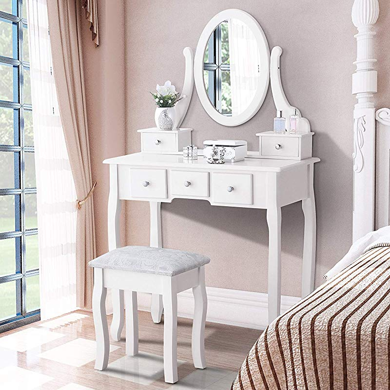Mecor Vanity Table Oval Mirror Makeup Vanity Set Cushioned Stool Wood Dressing Table With 5 Drawers For Girls Women Bedroom Furniture White