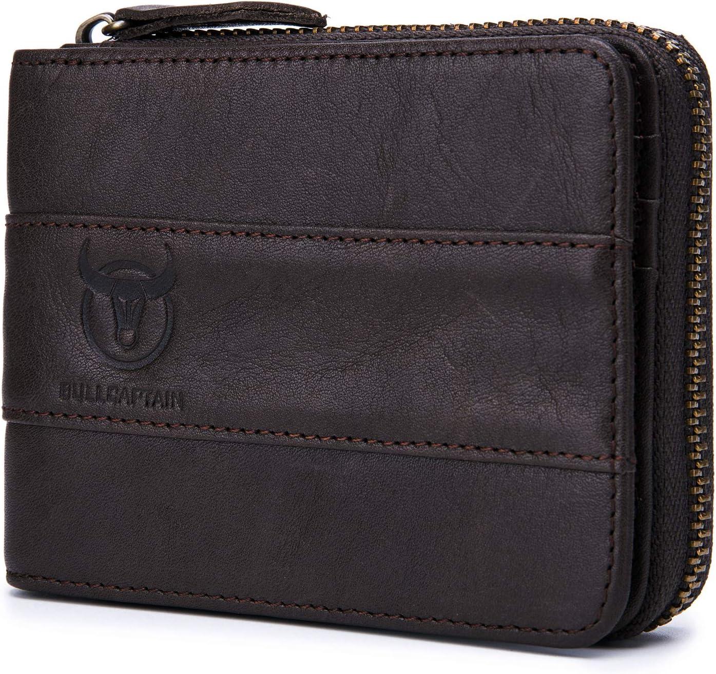 Genuine Leather Wallet for men Zipper RFID Blocking Vintage Bifold Wallets Credit Cards Holder HBK-QB025 (BLACK)