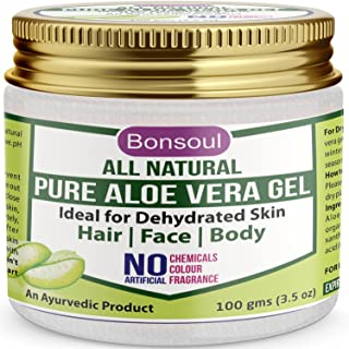 BONSOUL All Natural and Pure Aloe Vera Gel   99% Aloe Vera   Ideal for Dehydrated Skin   Hair, Face and Body (100 GMS)