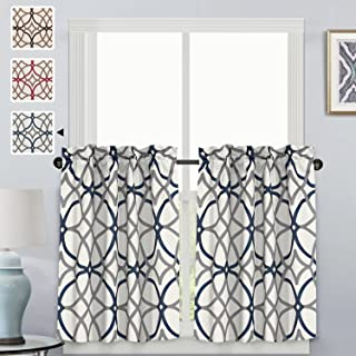 H.VERSAILTEX Thermal Insulated Elegant Curtain Drapes Room Darkening Rod Pocket Kitchen Curtain Tier Set - Grey and Navy Geo Pattern - (58