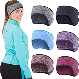 SATINIOR 6 Pieces Ear Warmer Headband Stretchy Ear Muffs Headband Full Cover Workout Headband for Winter Cold Weather Running Yoga Jogging Cycling Riding