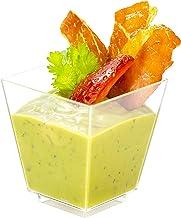 Square Mini Dessert Cup - 3.5 ounce - 50 Count - Lids & Spoons Included - Clear Plastic - Appetizer Cup - Parfait Cup - De...