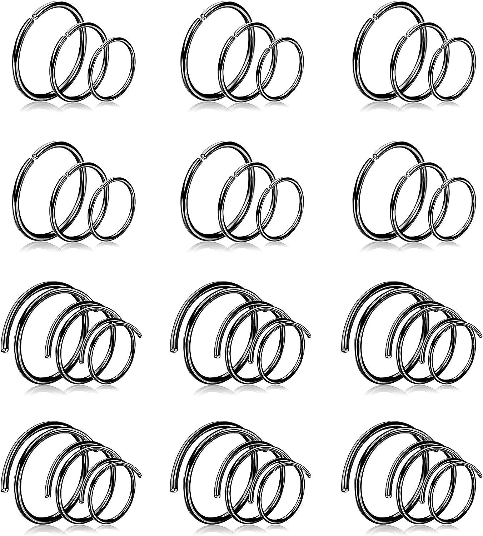 Drperfect Nose Ring Hoop for Women Men Double Hoop Nose Ring Single Pierced Surgical Steel 20G Gauge 6MM 8MM 10MM Nose Hoop Piercing Jewelry