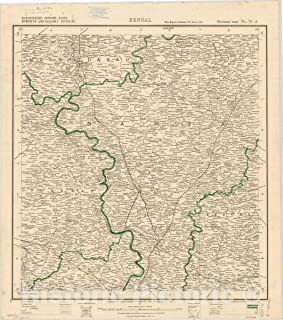 Historic Pictoric Map : Murshidabad, Jessore, Nadia, Burdwan and Hooghly Districts, Bengal, No. 79 A 1911, India 1:253,440, Antique Vintage Reproduction : 44in x 50in