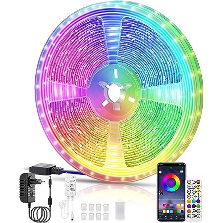 Ruban LED, Voneta 10M Chambre LED 5050 RGB LED Bande Multicolores, IR &APP Télécommande, Synchroniser avec Rythme de Musique, Luminosité Réglables pour Mariage/Maison/Cuisine/Fête (10M)
