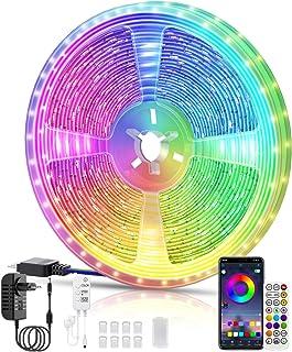 LED Strip 10M, RGB Smart LED Streifen Farbwechsel LED Band, Musik Sync LED Lichterkette mit Fernbedienung und App-steuerun...