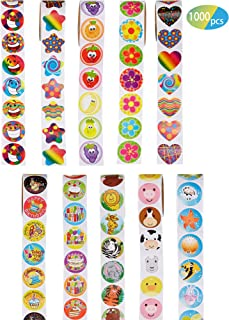 Outus 1000 Pieces Sticker Roll Animal Birthday Cakes Sunflowers Smiles Fruit Marine Life Stickers for Party Supplies Teachers
