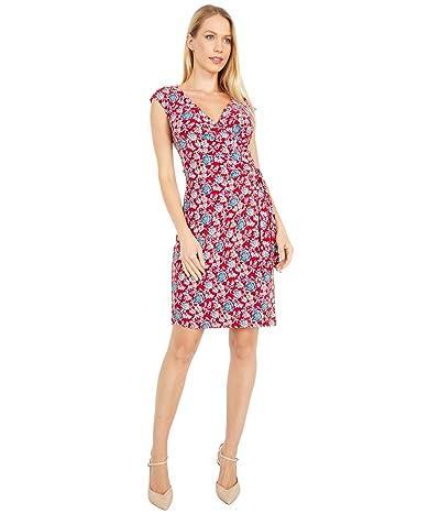 LAUREN Ralph Lauren Saida Cap Sleeve Day Dress (Red/Blue/Multi) Women
