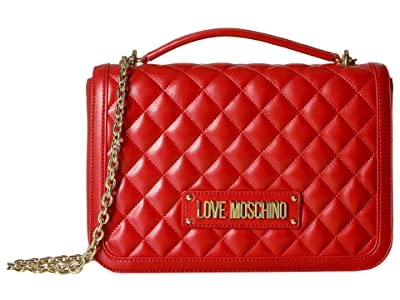 LOVE Moschino Shinny Quilted Handbag with Chain Strap (Red) Handbags