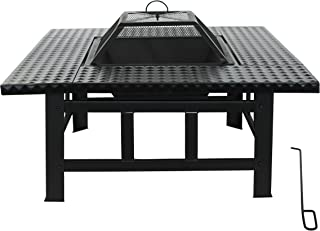 ALEKO FP010 Heavy Duty Steel Table Top Fire Pit Kit with Flame Retardant Lid and Poker 32 x 32 x 15 Inches Black