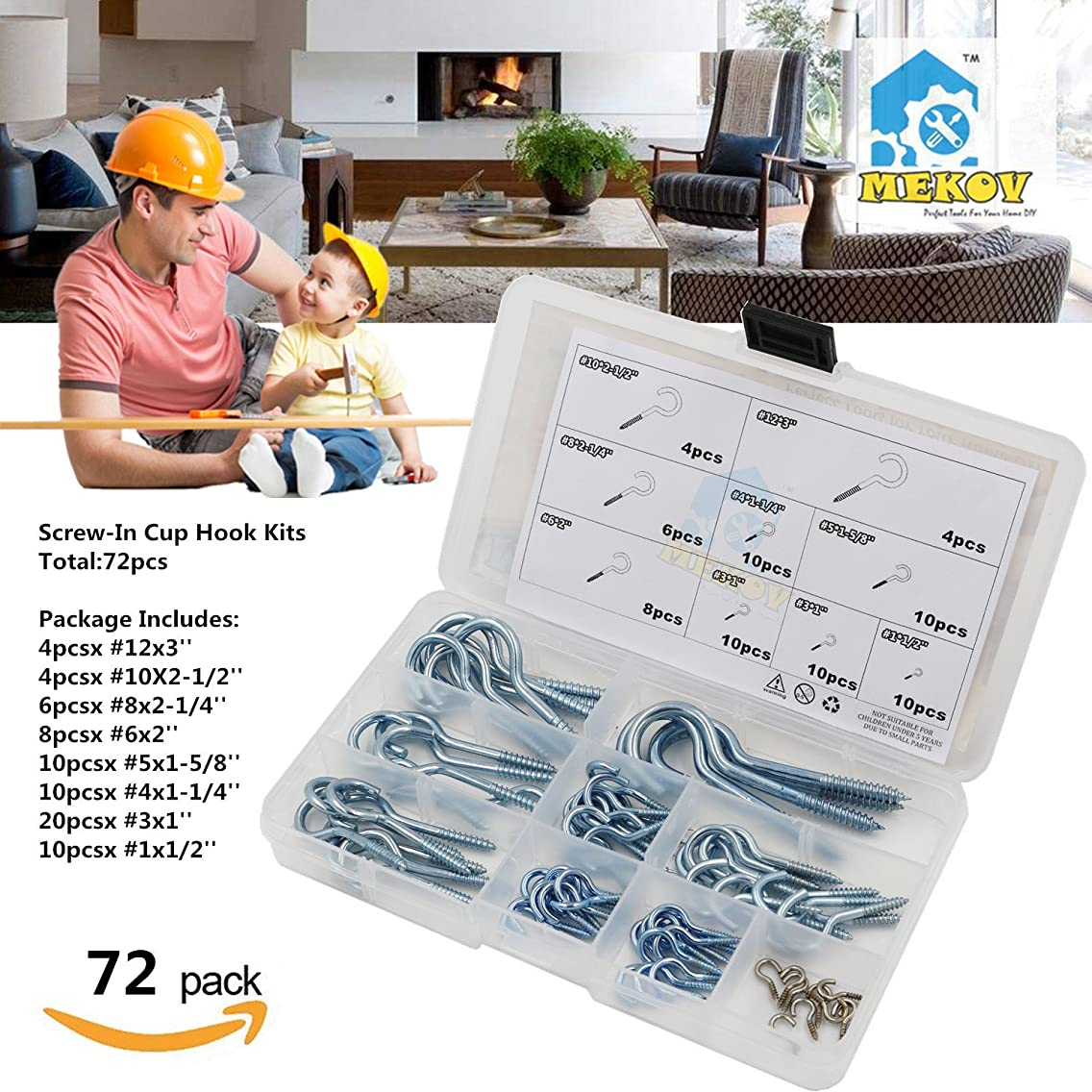 Mekov, 72pcs Zinc Plated Screw-In Cup Hooks Assortment Kit, Common Home Use Screw Set - Screw-In Cup Hook Kit