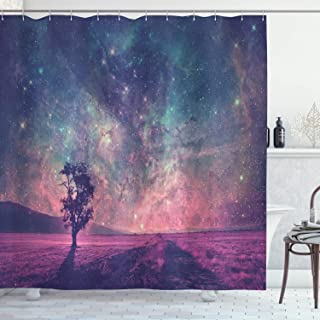 Ambesonne Galaxy Shower Curtain, Lonely Tree Silhouette Space NASA Furnished Elements Artwork, Cloth Fabric Bathroom Decor Set with Hooks, 70