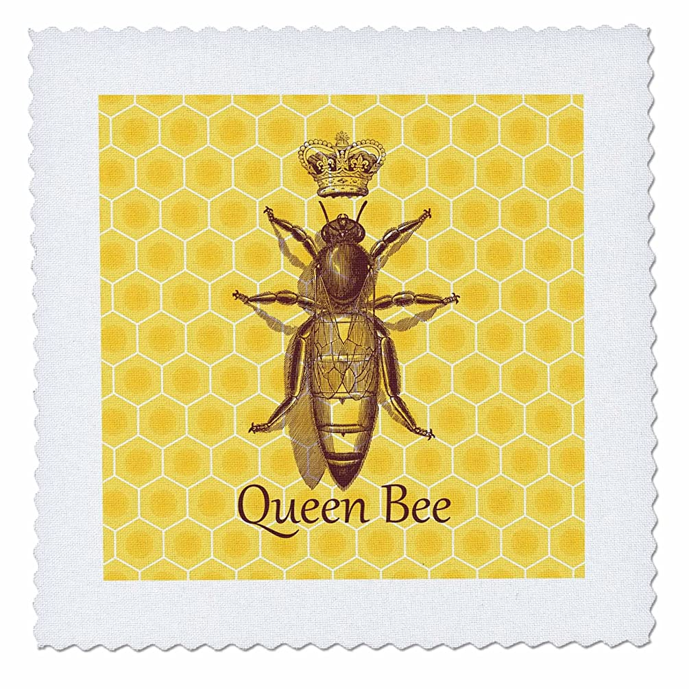 3dRose Stately Queen Bee with Royal Crown Over Yellow Honeycomb - Quilt Square, 10 by 10-Inch (qs_219442_1)