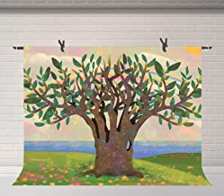 FUERMOR Green Family Trees Background 7x5ft Photography Backdrop Props for Family Reunion Party Photo Video Decor LHFU661
