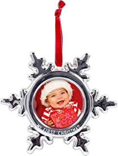 Tiny Ideas Baby's First Christmas Snowflake Baby Photo Ornament, Celebrate Baby's First Holiday with This Keepsake Gift for New Parents