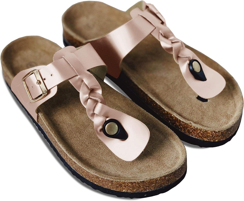 Syktkmx Womens T Strap Flip Flops Slip on Thong Braided Platform Buckle Cork Flat Sandals