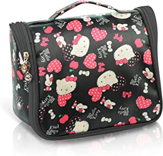 Finex Black Hello Kitty Toiletry Shower Bag with Hanging Hook Cosmetic Make up Organizer Bag for Travel Accessories Personal Items with Mesh Pocket for girls women vacation
