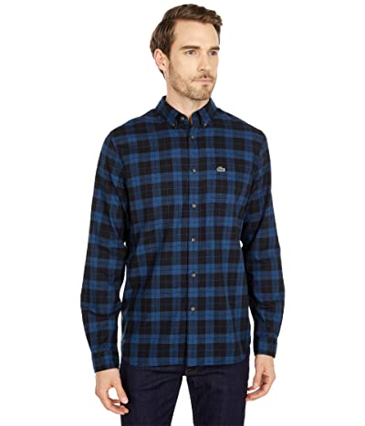 Lacoste Long Sleeve Casual Checked Pattern Chest Pocket Shirt (Black/Scope Twisted) Men