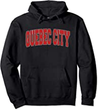 QUEBEC CITY CANADA Varsity Style Vintage Canadian Sports Pullover Hoodie