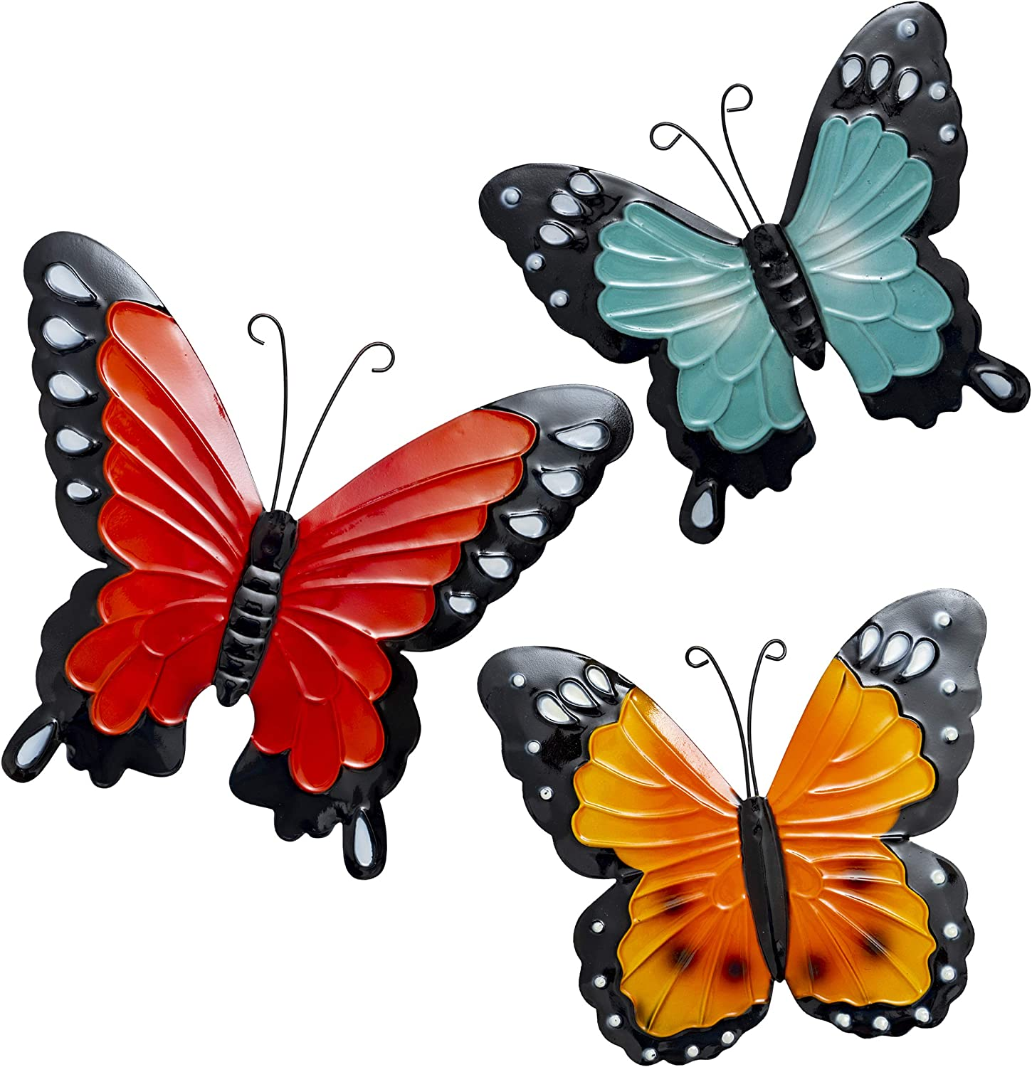 Besti Butterfly Wall Decorations – Metal Butterflies Outdoor Décor – Butterfly Wall Art for Indoor and Outdoor Use – Beautiful Backyard Wall Decorations – 3 pieces Blue, Yellow, Orange