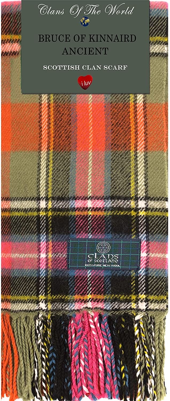 Bruce of Kinnaird Ancient Tartan Clan Scarf 100% Soft Lambswool