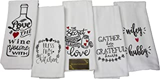 Rustic Covenant Terry Cloth Cotton Wine & Friends Tea Towels, 26 inches by 14 inches, Set of 5