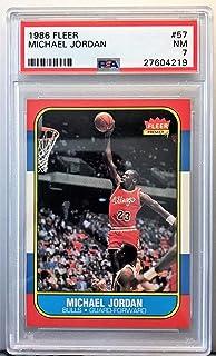 3d7ec75e98481d Michael Jordan 1986 Fleer Basketball Rookie Card  57 PSA Graded NM 7  27604219