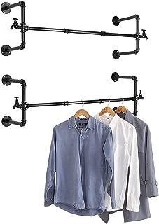MyGift Set of 2 Wall-Mounted Black Metal Pipe & Faucet Design Garment Rod