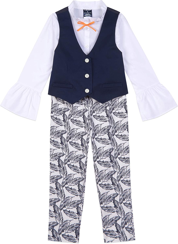 IZOD Girls' 4-Piece SALE開催中 Vest Set Puff-Sleeve with Bottom 大人気! Top and