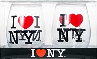 Set of 2 Officially Licensed I Love New York Stemless Wine Glasses