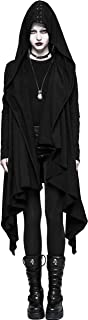 Punk Rave Women Black Gothic Cardigan Casual Jacket Knitted Hooded Lace Up Coat